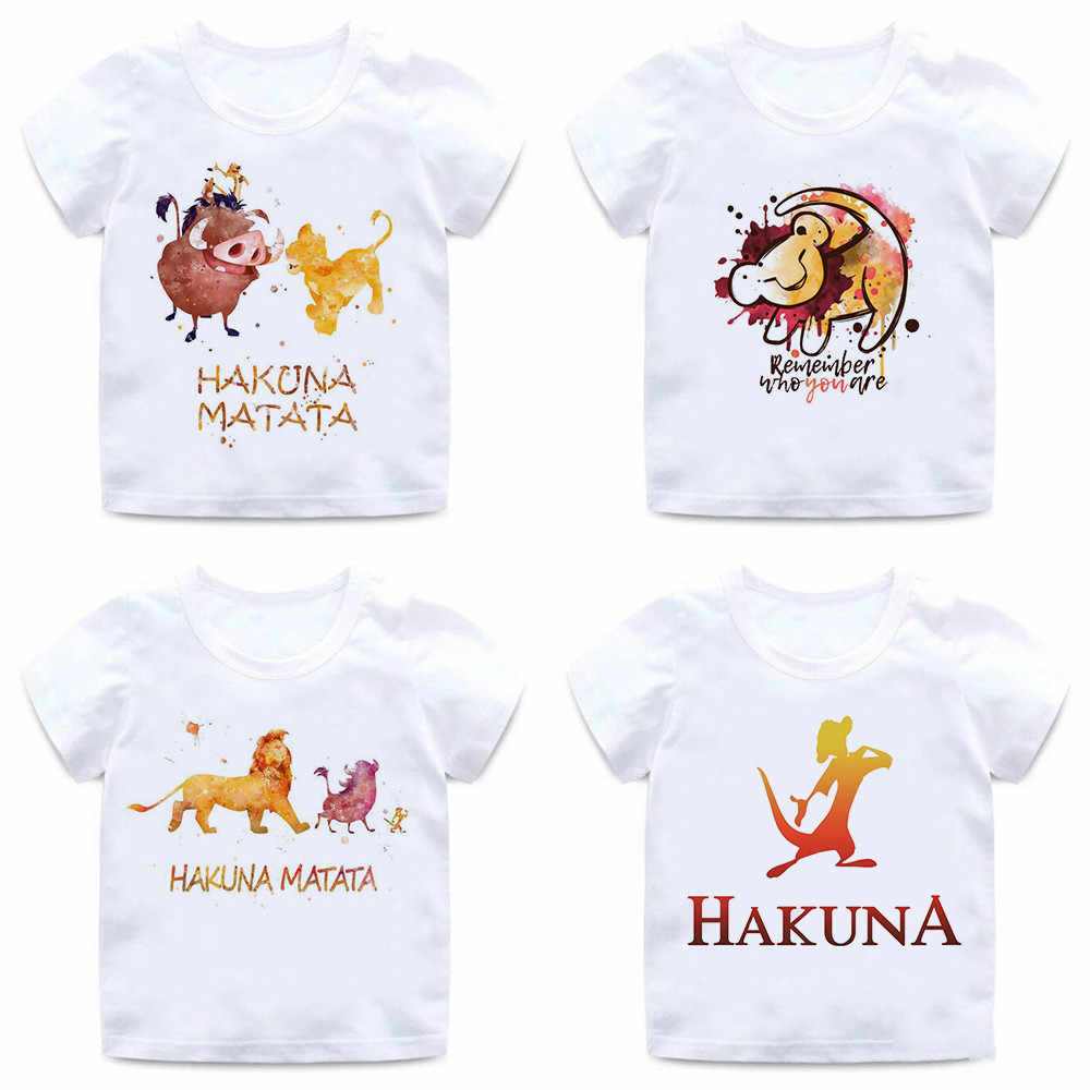 Summer Kids T-shirts HAKUNA MATATA Animal Print Funny Boys T Shirts Girls Tops Summer Funny Cartoon UnicornT-shirt,bal019