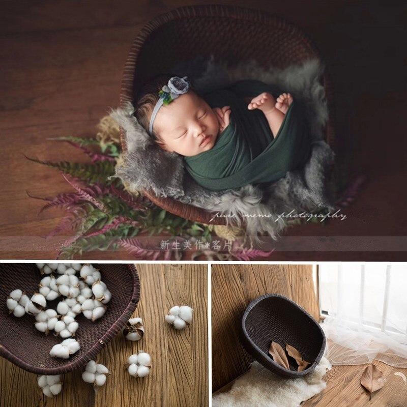 Baby Photo Props Boy Handmade Vintage Rattan Baby Basket For Photo Shoot Newborn Props Chair Studio Bebe Fotografia Accesorios