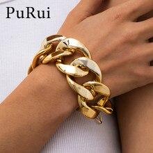 Punk hip hop miami curb pulseiras de corrente cubana pulseiras para mulheres charme cor do ouro corrente grossa heavy metal pulseiras jóias presente