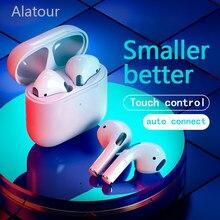 Alatour fones de ouvido sem fio bluetooth 5.0 fones esporte com microfone caixa carregamento para todos os smartphones