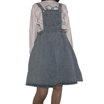 Korean Fashion Style Women Jeans Skirt Adjustable-Strap High Waist Mini Denim Skirt Overalls Vintage Casual Suspender Skirt sweet style solid color button embellished women s suspender skirt
