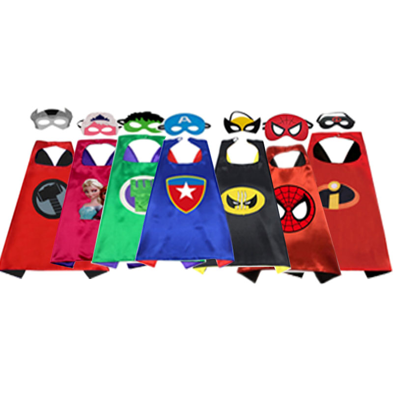 1CAPE+1MASK Super Hero Cosplay Costume For Children Halloween Party Costumes For Kids  Spider & Man Cloak