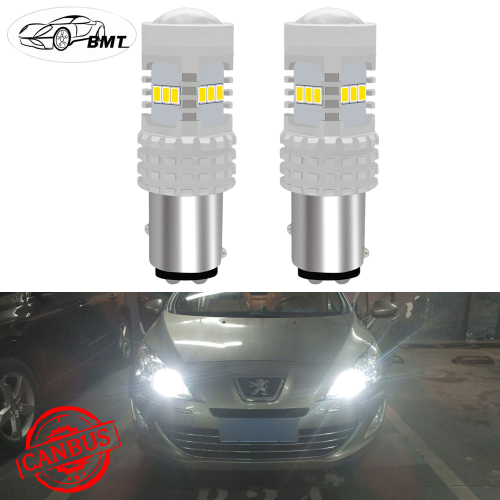 BMT 6000K Xenon White CAN-bus P21/5W BAY15d <font><b>LED</b></font> Daytime Running <font><b>Light</b></font> DRL Bulbs For <font><b>Peugeot</b></font> 408 308 <font><b>3008</b></font> RCZ 12V 1157 <font><b>LED</b></font> Car image