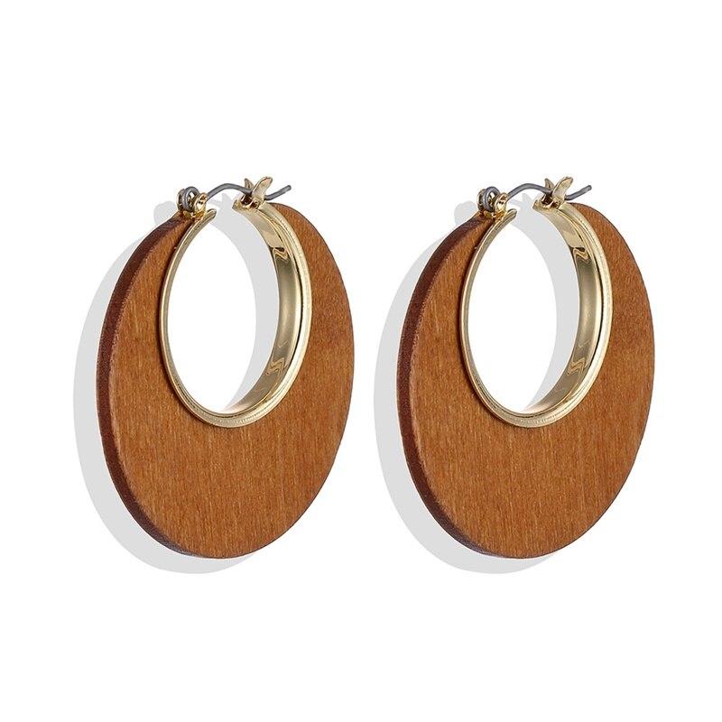 IFMIA Vintage Geometric Brown Wood Dangle Earrings for Women Fashion Bohemian Wooden Drop Earrings Statement Jewelry 2019 NEW