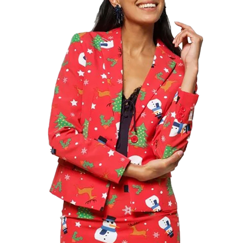Christmas Blazer Women Christmas Snowman Print Jacket New Year Party Red Blazer Feminino Lady Office Short Blazer Streetwear D30
