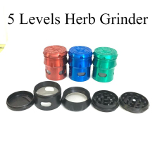 5levels 55mm Drums Zinc Alloy Herb Grinder with Windows Tobacco Smoke Cruhser High Quality