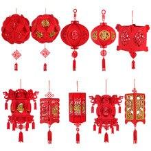 3d diy fontes de festa decoração para casa reunindo não-tecido primavera festival chinês ano novo fu personagem palácio vermelho lanterna
