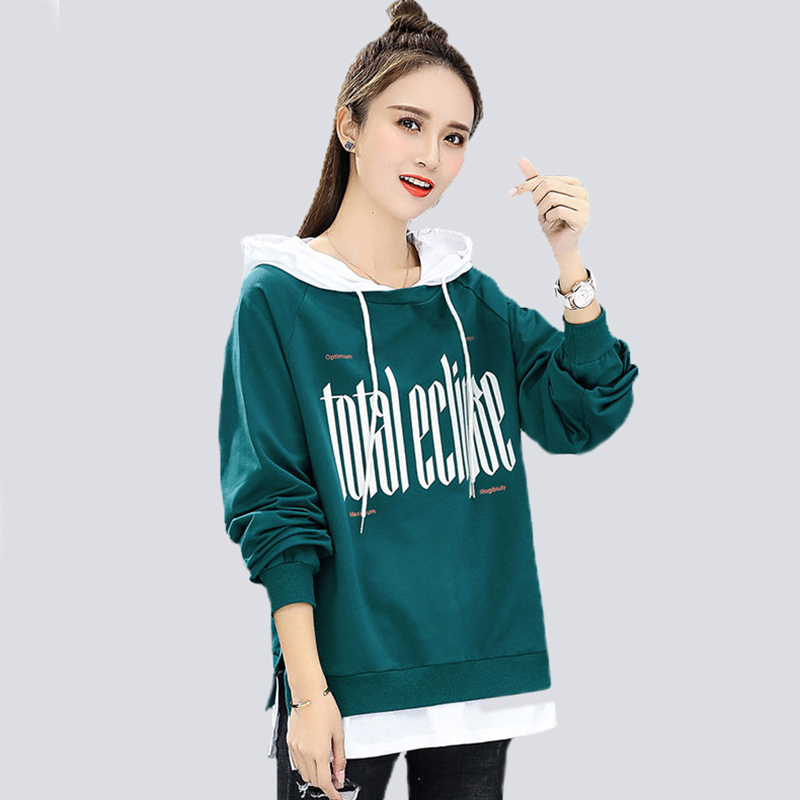 Women Coat Fake Two-Piece Coat Female 2020 Spring And Autumn New Loose Hooded Jacket Long Sleeve Top Student Clothings