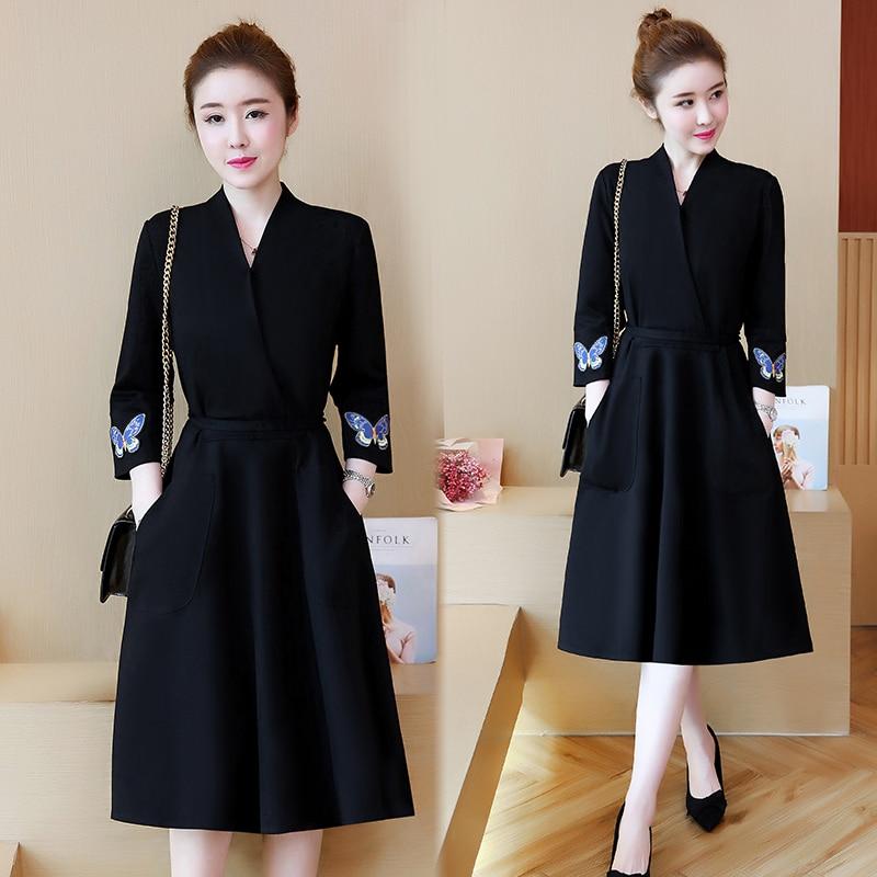Vestidos De Mujer De Tallas Grandes Moda Primavera Negro Muneca Oficina Senora Trabajo Vestido Largo Casual Vestidos Ropa Lwl275 Vestidos Aliexpress