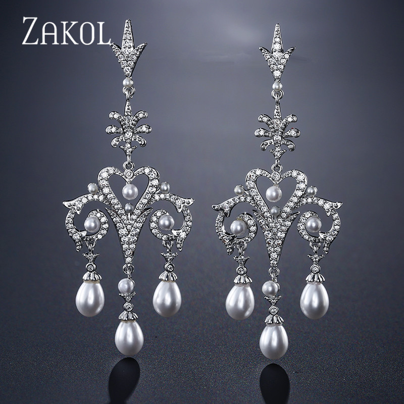 ZAKOL Fashion Chandelier Cubic Zirconia & Imitation Pearl Dangle Earrings For Women Luxury Big Bridal Wedding Jewelry FSEP2128