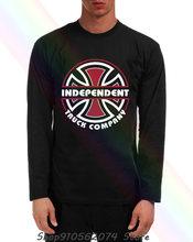 Camiseta negra de manga larga para hombre, prenda de vestir, con cuello, con estampado de patineta de empresa Itc Bauhaus, camioneta independiente, BSTZC