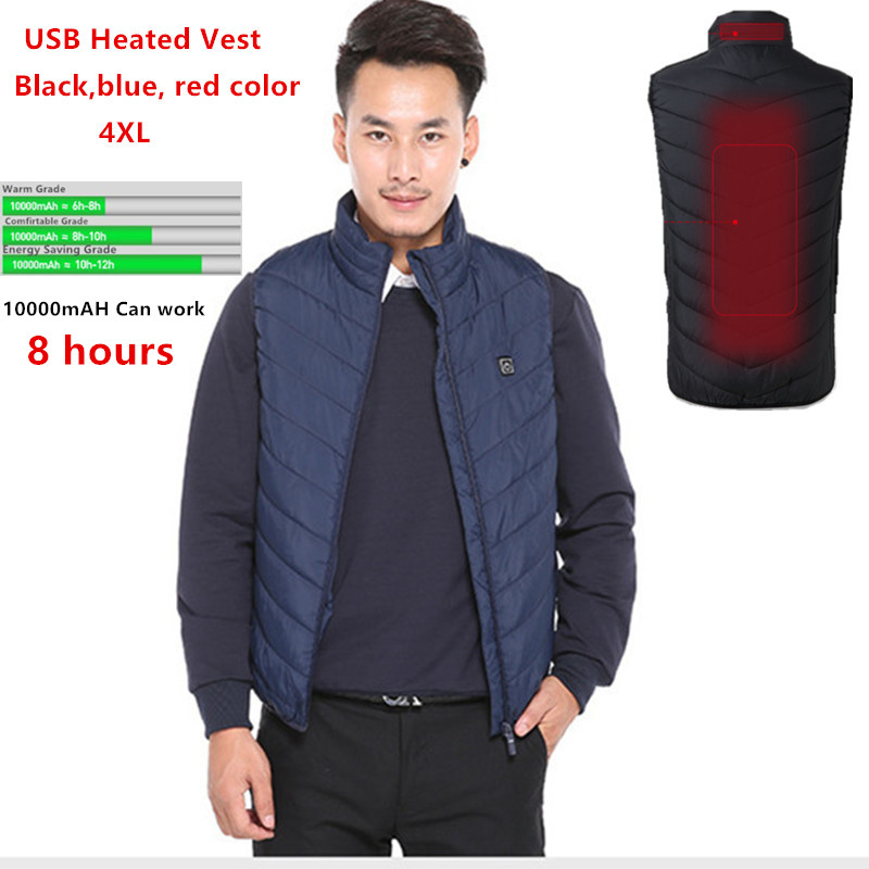 USB Heat Vest Men Women Waistcoat Winter Outdoor Thermal Jacket Warm Hiking Heated Ladies Red Black Infrared Electric Clothing