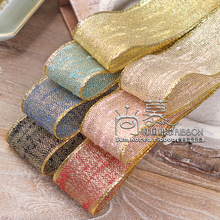100yards 25mm 38mm gold metallic edge stitched flax ribbon for bouquet flower gift packing bow kids craft supplies