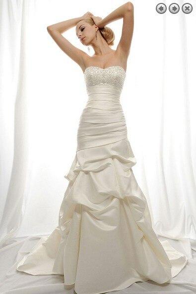 Free Sale Shipping Vintage 2017 New Woman Dress Designer Bridal Gowns Plus Size Sain Simple Long Beaded Mermaid Wedding Dresses