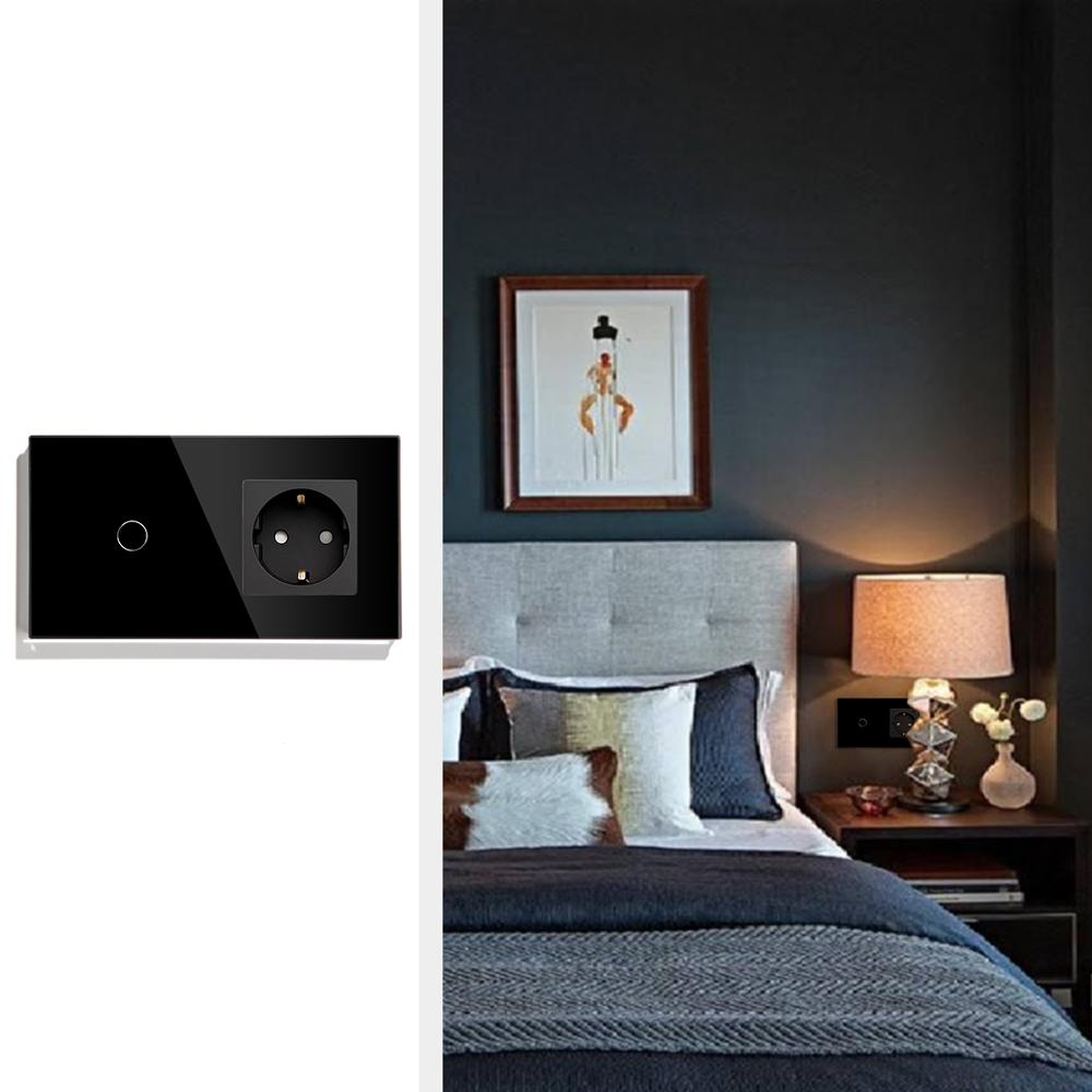 Image 5 - BSEED Touch Switch 1 Gang  2Gang  3Gang 1 Way 2 Way With EU Standard Socket Black White Gold Crystal Glass Panel Switches-in Switches from Lights & Lighting