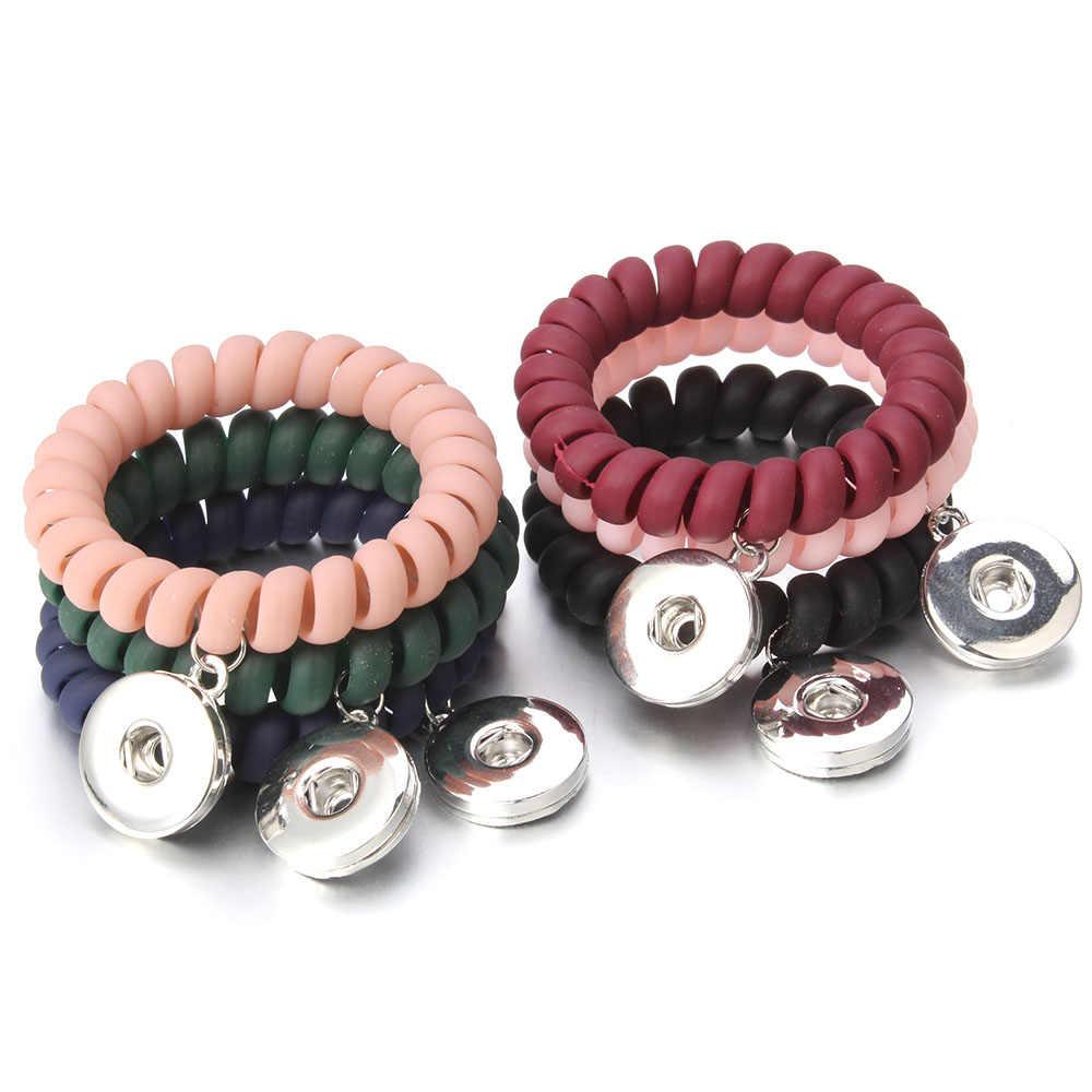 חדש הצמד תכשיטי קשת צבע הצמד צמיד קסמי 18mm כפתור הצמד צמיד צמיד אלסטי מצליפה כפתורי נשים ילד DIY