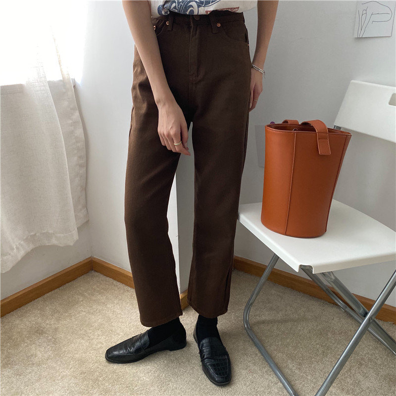 HziriP Brown Straight Students Denim Vintage Slender Office Lady Jeans Women Trousers New High Waist Large Size Pants Female