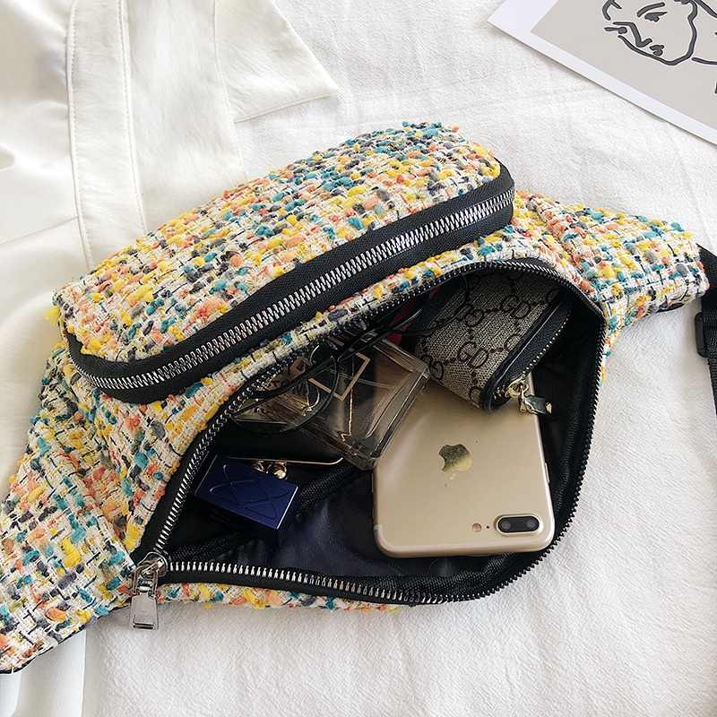 Stricken wolle taille tasche frauen luxus marke designer fanny pack hüfte bum taschen telefon geld gürtel tasche geldbörse brust handtasche schulter