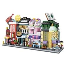 LOZ Mini Street View Store Set Music Arts Cake Drinking Book DIY Educational Building blocks toy for Children Girsl 1261