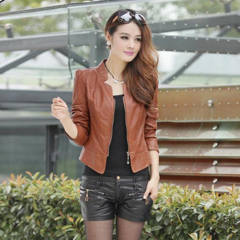 Women Short Pu Leather Jacket 2020 Autumn Spring Solid Jackets Brown Slim With Zipper O Neck Streetwear Casual Outwear Feminina