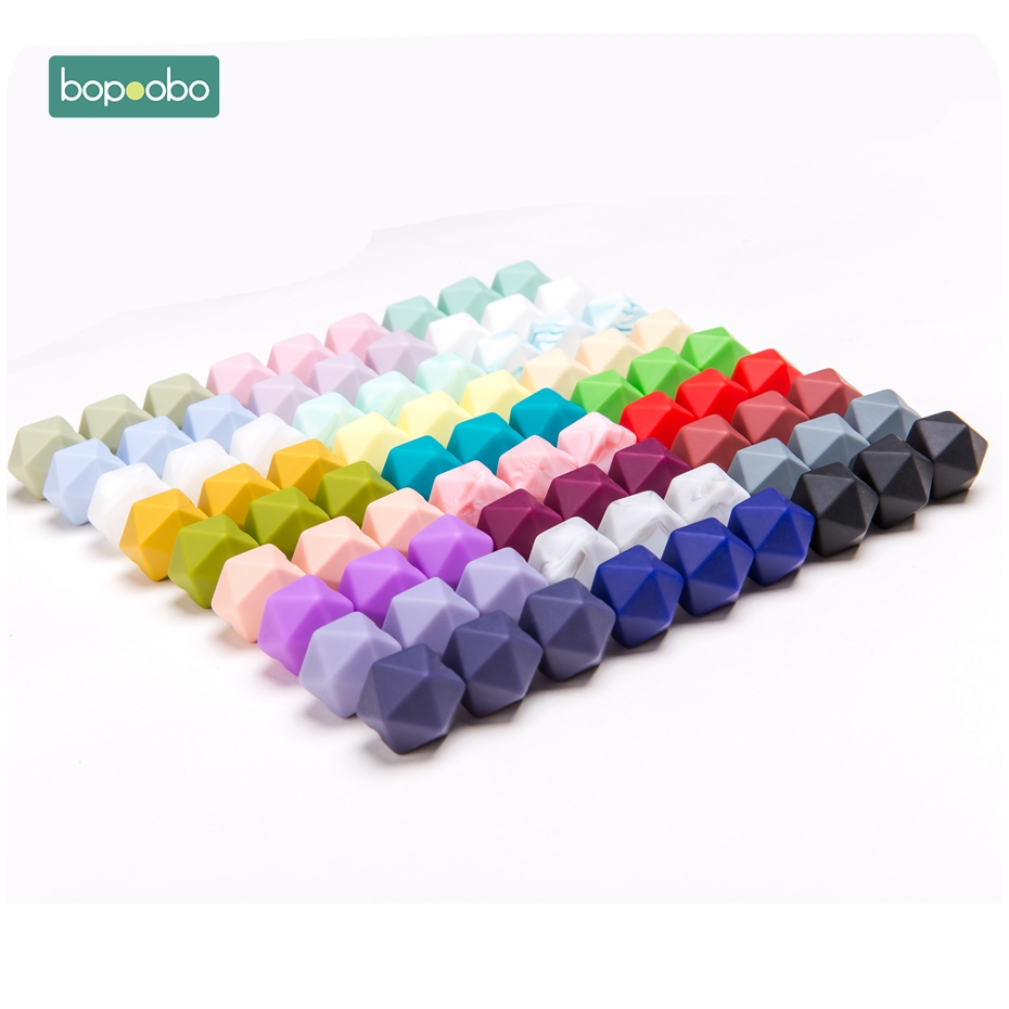 Bopoobo 14mm 30pc Silicone Hexagon Beads Food Grade Baby Teether BPA Free Infant Teething Diy Pendant Pacifier Chain Accessories