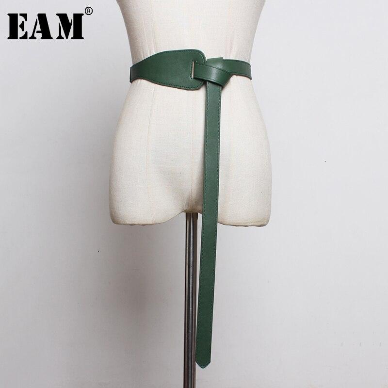 [EAM]  Pu Leather Asymmetrical Split Long Wide Belt Personality Women New Fashion Tide All-match Spring Autumn 2021 19A-a293