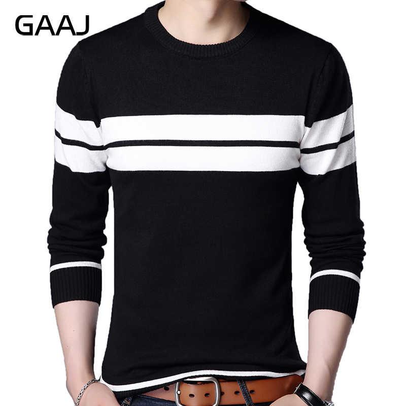 Histrex Merek Desain Pullover Bergaris Pria Sweater Rajutan Sweater Pria Slim Fit Rajut Pakaian Hitam Putih Pria Sweater