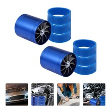 2pcs Double Turbine Turbos Charger Fan Car Supercharger with 6 Rubber Ring
