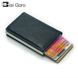 BISI GORO Unisex monedero Mini aluminio Metal delgado tarjeta de visita cartera hombres tarjeta de crédito titular bloqueo Rfid cartera dinero