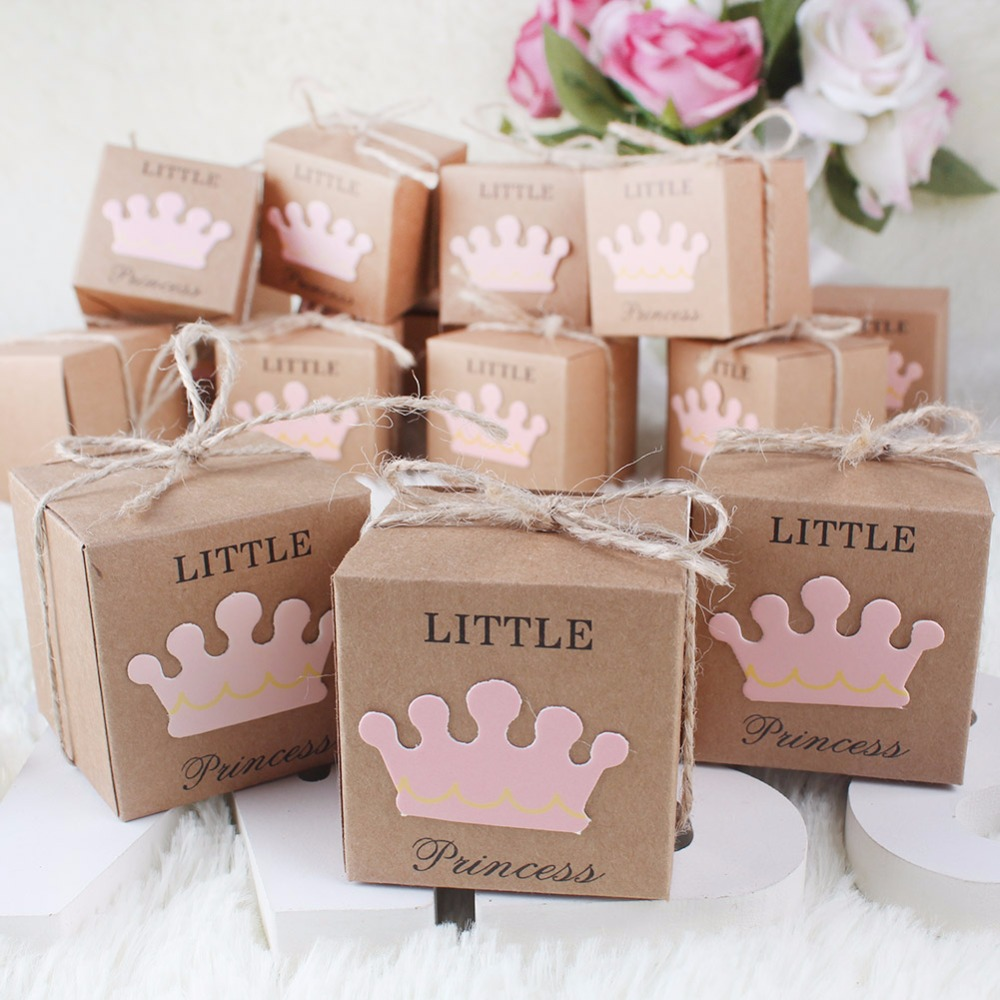 OurWarm 10Pcs Crown Paper Candy Boxes Gift Dessert Bags Kids Guest Baby Shower Party Favors Baptism Decoration Blue Pink