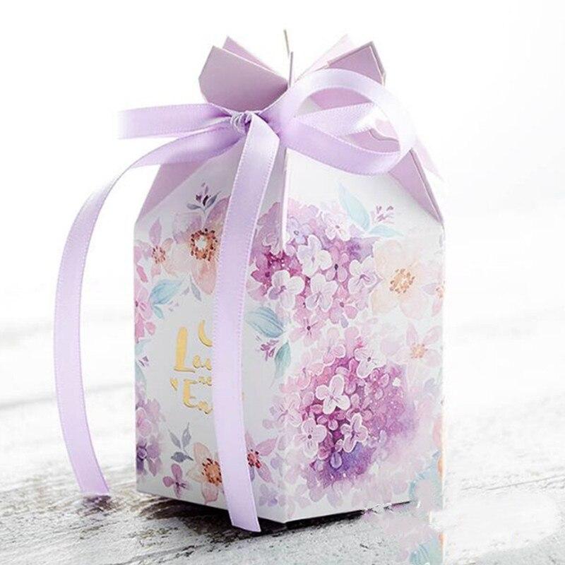 Nuovo 50pcs FAI DA TE Europea caramella di cerimonia nuziale casella di acquerello piccolo fresco contenitore di caramella viola caramella di cerimonia nuziale della caramella del sacchetto di imballaggi di carta box - 6