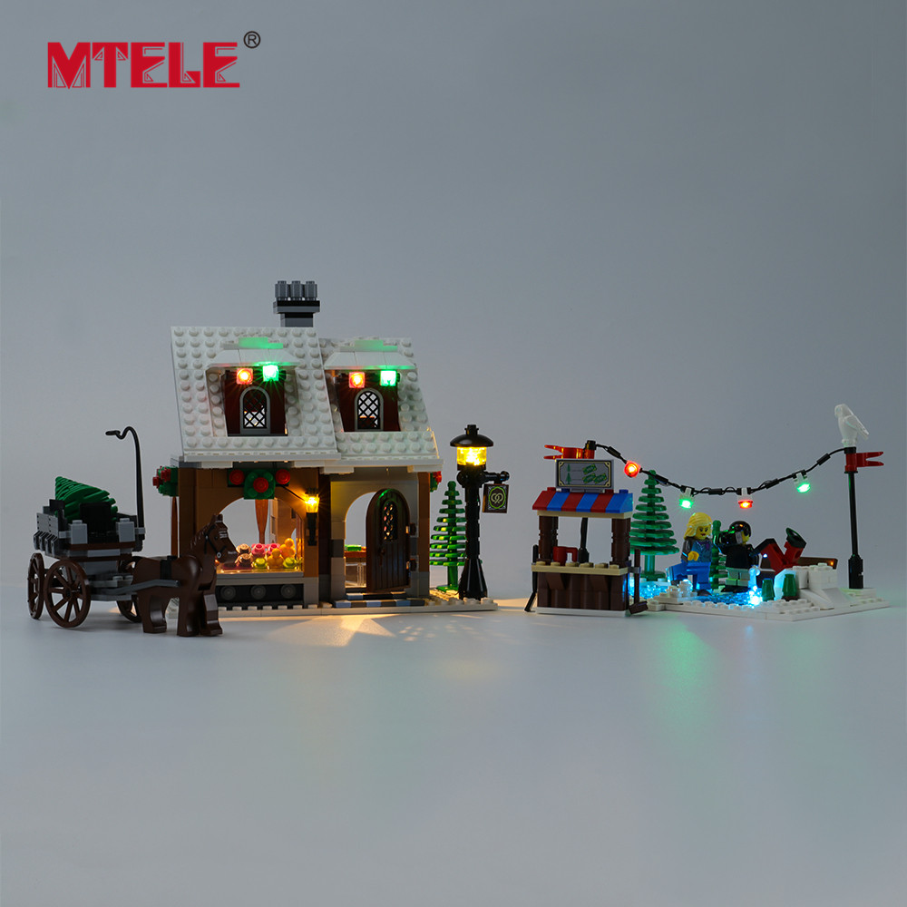 Бренд MTELE, светодиодный светильник, Набор для создания зимней деревни, хлебобулочные игрушки, светильник, набор, совместимый с 10216