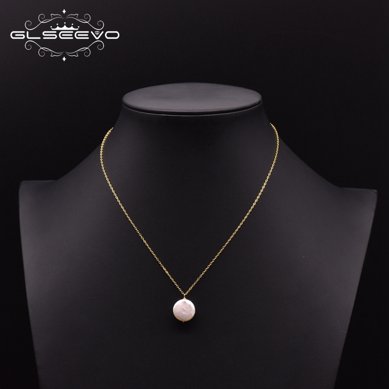 GLSEEVO 925 Sterling Silver Natural Fresh Water Baroque Flat Pearl Necklace For Women Party Wedding Fine Jewellery Kolye GN0109