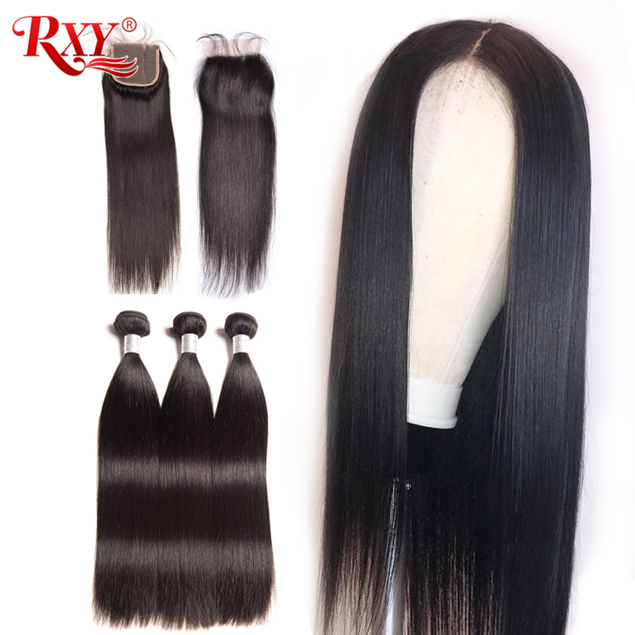 Malaysian Hair Bundles With Lace Closure Can be Processed Into a Wig Straight Hair Bundles With