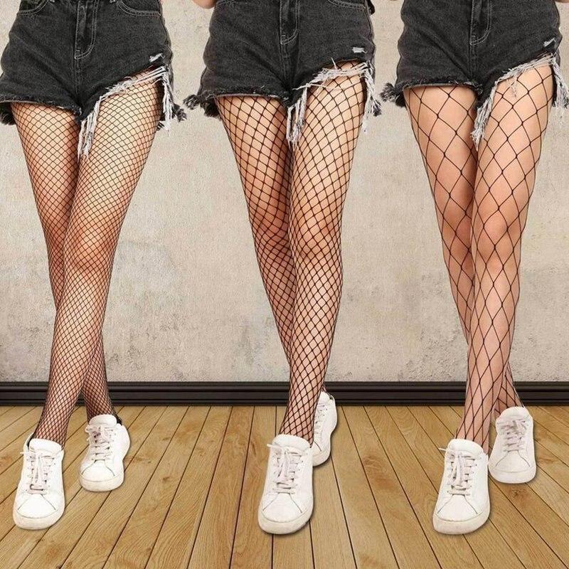 Feminino sexy transparente magro fishnet meia-calça clube festa buracos net preto collants pequeno/médio/grande malha meia