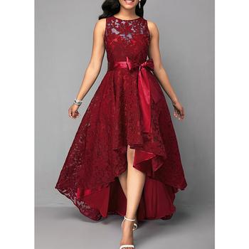 Panie elegancka sukienka druhna lato nieregularne kobiety suknie na przyjęcia weselne długa sukienka bez rękawów długość podłogi sukienki wizytowe D30 tanie i dobre opinie DYMADE -Line CN (pochodzenie) O-neck Skrzydeł Dla dorosłych 861379 Koronki empire