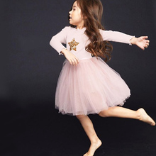New Autumn Dress Casual Fashion Baby Girl Star Printing Long Sleeve Lovely Mesh Princess Toddler Dress 2-7T Baby Girl Clothes