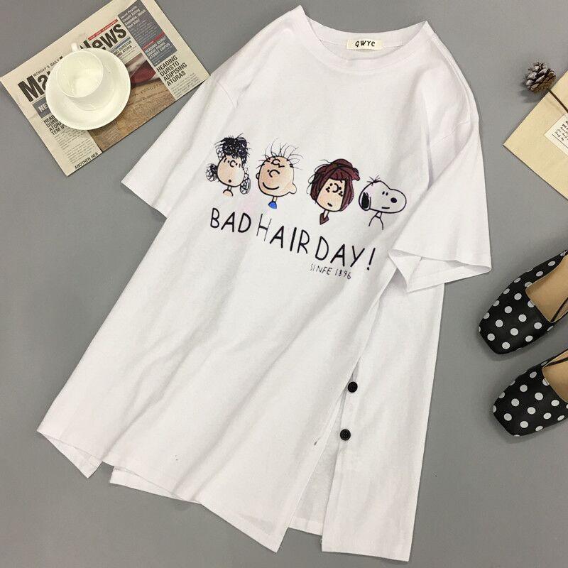 Women's Print Cartoon Snoopy Cute Tshirt 2019 Summer Loose T-shirt Oversize