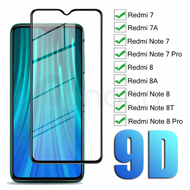 9D Tempered Glass For Xiaomi Redmi Note 6 8 7 8T Glass Screen Protector For Redmi 7 7A 8 8A6 6A For Redmi Note 8T 7 8 Pro Glass