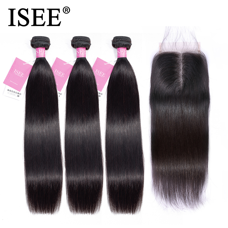 Straight Hair Bundles With Closure ISEE HAIR Remy Human Hair Bundles With Frontal Brazilian Hair Weave Bundles With Closure