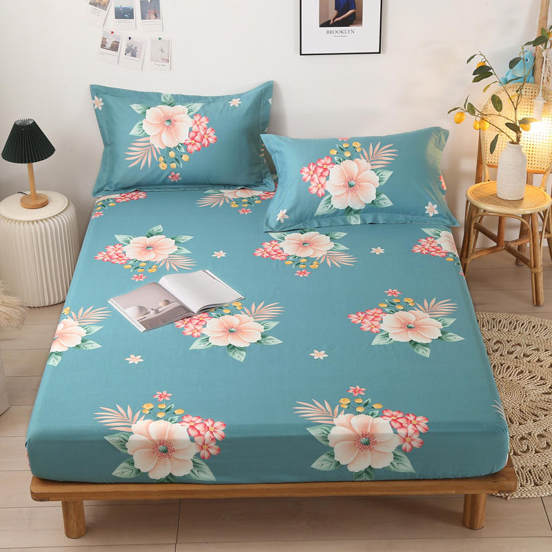 Bonenjoy 1 pc 100%Cotton Mattress Cover Flower Printed Single Size Bed Linen Cotton Queen/King Bed Fitted Sheet with Elastic