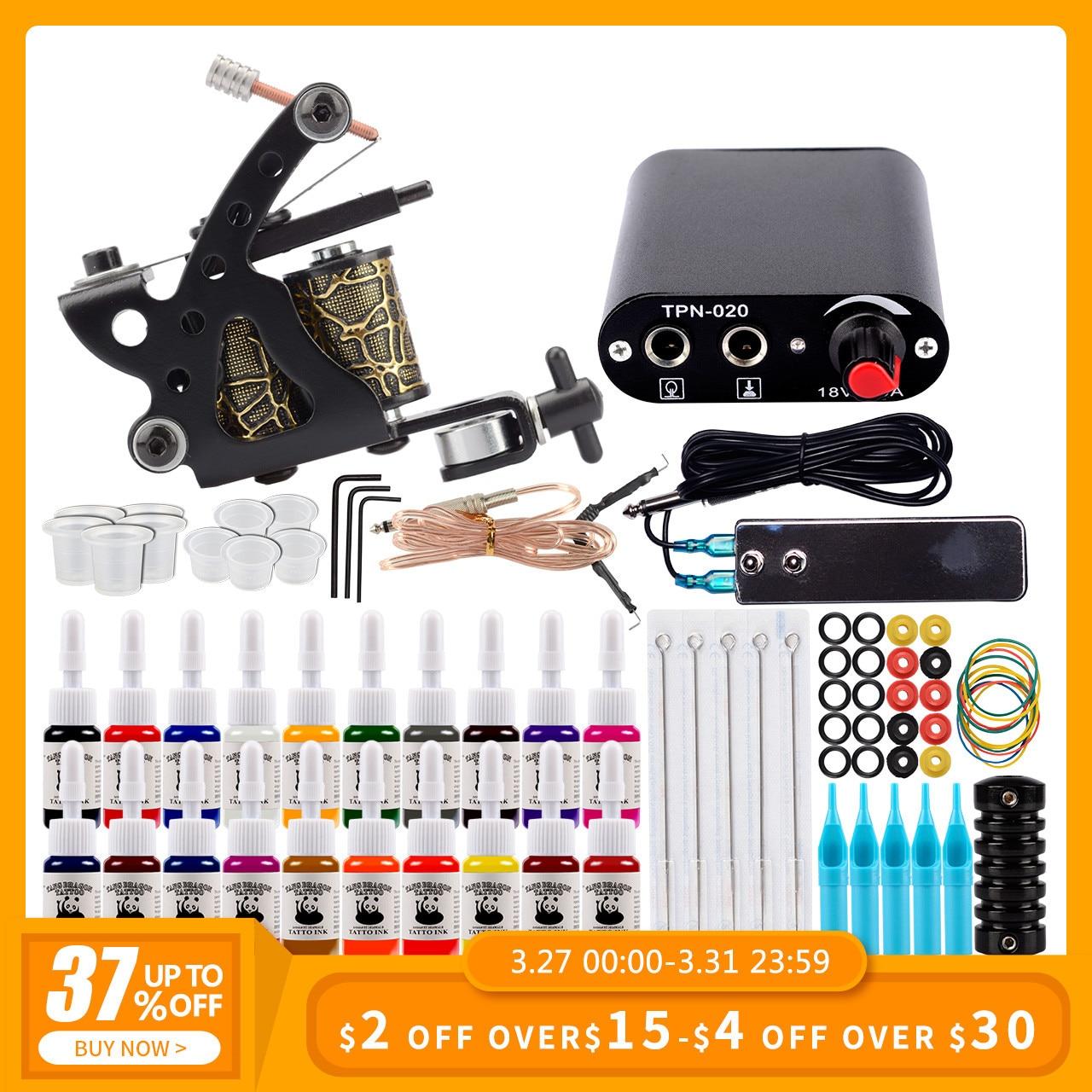 Starter Tattoo Kit One Coils Gun 20 Colors Pigment Inks Set Mini Power Supply Permanent Makeup Body Art Tattoo Machine Set