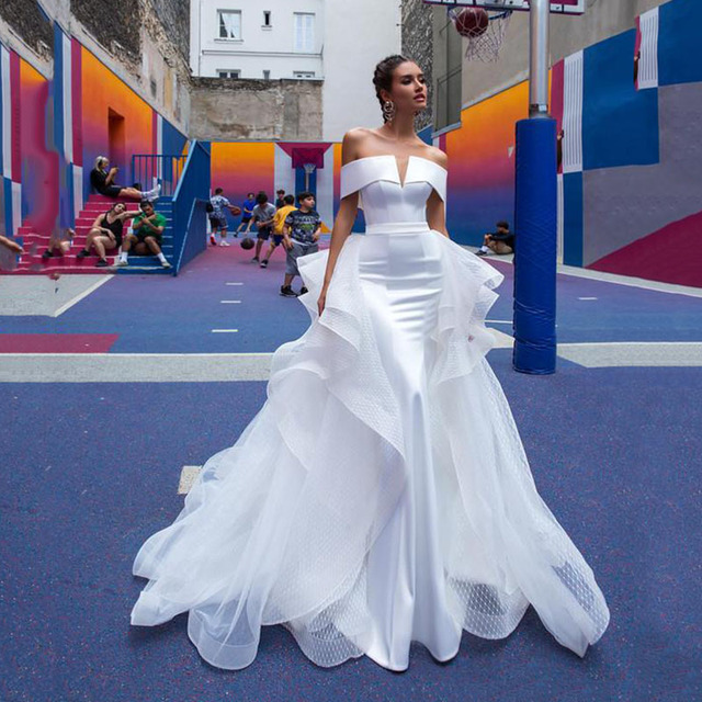 Vestidos de noiva sereia com saia destacável fora do ombro cetim vestidos de noiva branco vestido de casamento 1