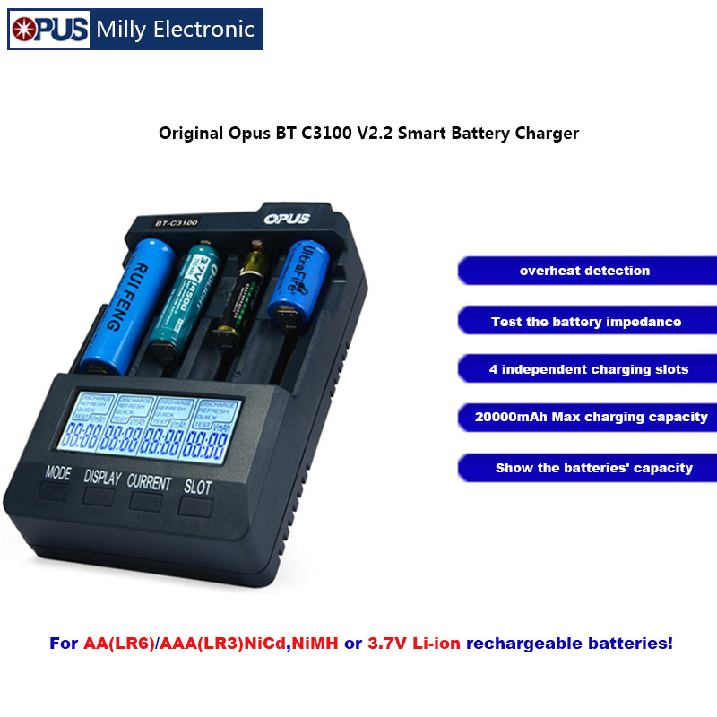 Original Opus BT C3100 V2.2 Smart Battery <font><b>Charger</b></font> 4 LCD Slots LI-ion NiMh AA AAA 10440 <font><b>14500</b></font> зарядное устройство для батареек image