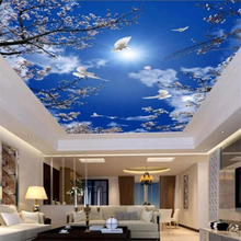 Custom wallpaper 3d mural atmosphere beautiful cherry blossom blue sky white pigeon ceiling zenith living room bedroom papel de parede wall papers home decor paper