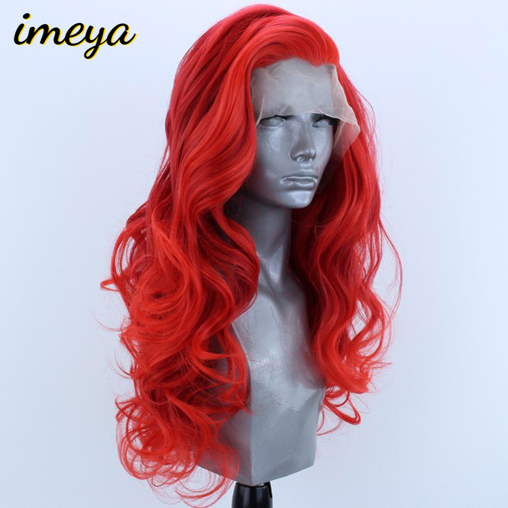 Imeya 150% Density Red Color Synthetic Lace Front Wigs Water Wave Heat Resistant Wigs With Natural Part Wig for Women