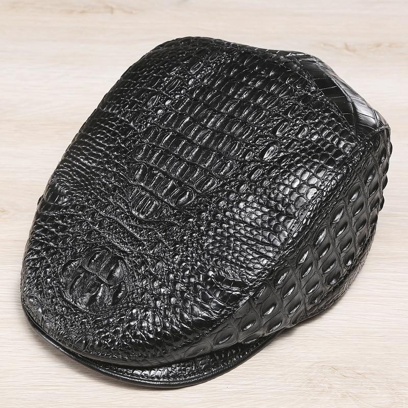 McParko Authentic Crocodile Beret Hat Men Cap Genuine Leather Winter Hat Peaky Blinder Croco Men Berets Luxury Brand Style Black 2
