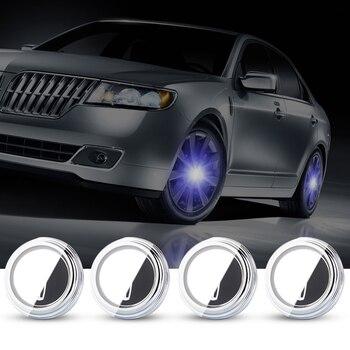 For Lincoln 55mm 4X Hub Light Car Wheel Caps Light Center Cover Lighting Cap Floating Illumination LED bulb auto car styling
