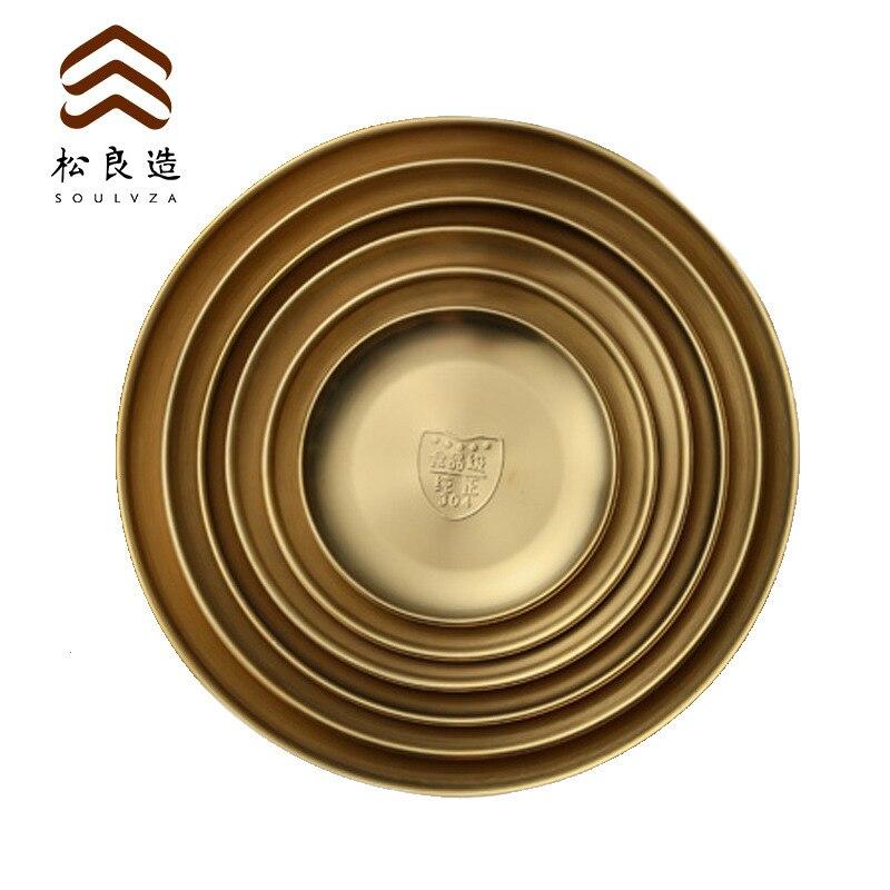 Plaque 6 pièce 304 acier inoxydable coréen disque Barbecue fruits doré plateau gâteau assiette plat