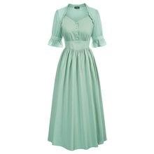 Uma linha vestidos femininos verão gótico steampunk renascentista algodão vestido inchado mangas curtas com decote em v meados de bezerro swing vestido longo senhora